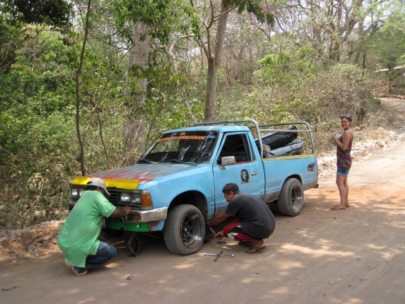 Of course we got a flat tyre... Photo: Rosary Walsh