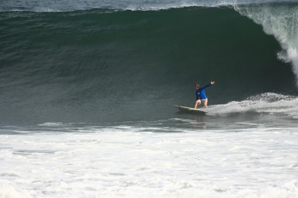 Tommy sneaking in a big onshore solo surf!